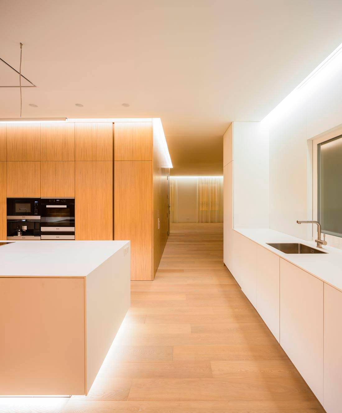 cocina minimalista iluminacion